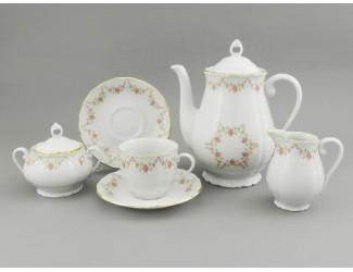 Сервиз кофейный 15 предметов 6 персон Leander Верона Мелкие цветы декор 0158