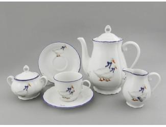 Сервиз кофейный 15 предметов 6 персон Leander Верона Гуси декор 0807