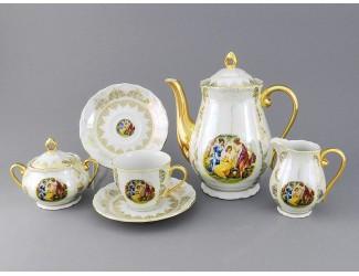 Сервиз кофейный 15 предметов 6 персон Leander Верона Мадонна золото декор 1907