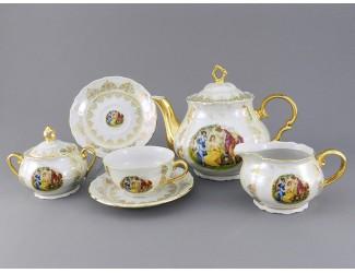 Сервиз чайный 15 предметов 6 персон Leander Верона Мадонна золото 1907