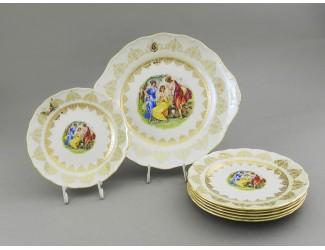 Сервиз для торта 7 предметов Leander Верона Мадонна золото декор 1907