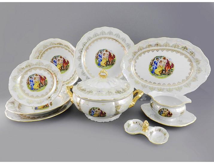 Сервиз столовый 25 предметов 6 персон Leander Верона Мадонна золото декор 1907