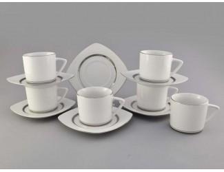 Набор чайных пар на 6 персон 12 предметов, Leander Бьянка Отводка платина, декор 0011