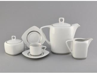 Сервиз кофейный 15 предметов 6 персон Leander Бьянка Отводка платина, декор 0011