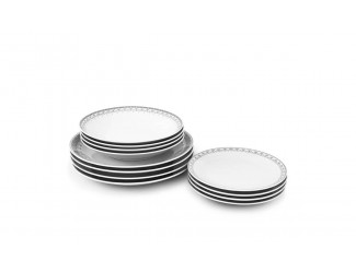 Набор тарелок 12 предметов  Leander Hyggeline, серый