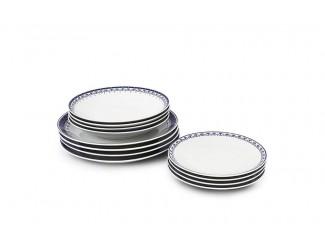 Набор тарелок 12 предметов Leander Hyggeline, синий