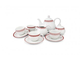Чайный сервиз на 4 персоны 11 предметов Leander Hyggelyne, красный