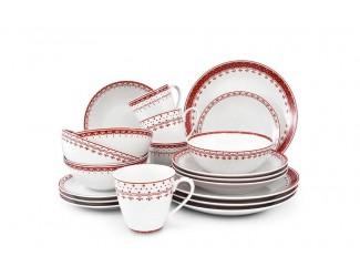 Чайно-столовый сервиз на 4 персоны 20 предметов Leander Hyggelyne, красный