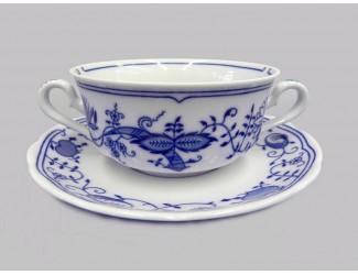 Чашка для супа с блюдцем 0,35л Leander Мери Энн Гжель (Луковый рисунок) декор 0055