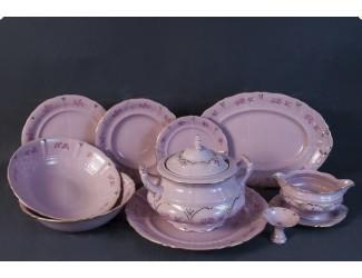 Сервиз столовый 25 предметов 6 персон Leander Соната Гармония  декор 0159 розовый фарфор 07262011-0159