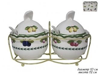 Набор из двух сахарниц с ложками на подставке Lenardi Фрукты 105-558