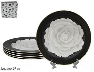 Набор из 6 тарелок 27см Lenardi Седая Роза Фарфор 105-569