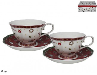 Набор две чашки и два блюдца Lenardi Новогодний 105-592