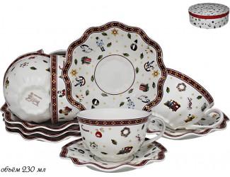Набор чайных пар на 6 персон 12 предметов Lenardi Новогодний 105-594