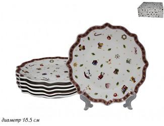Набор из 6 тарелок 18,5см Lenardi Новогодний 105-607