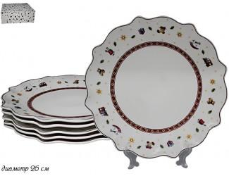 Набор из 6 тарелок 26см Lenardi Новогодний 105-608