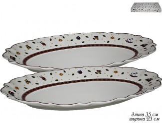 Набор из 2 овальных блюд 35см Lenardi Новогодний 105-610