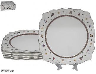 Набор из 6 тарелок 26см Фарфор Lenardi Новогодний 105-615