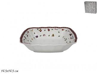 Квадратный салатник 14,5см Lenardi Новогодний 105-618