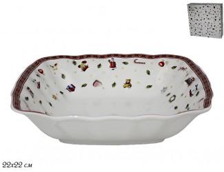 Квадратный салатник 22см Lenardi Новогодний 105-619