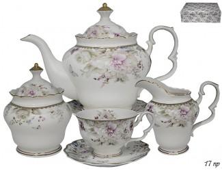Чайный сервиз на 6 персон 17 предметов Lenardi Хризантемы 105-626