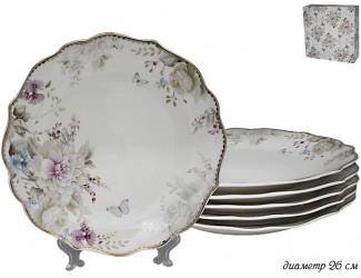 Набор из 6 тарелок 26см Lenardi Хризантемы 105-630