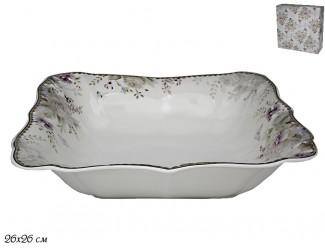 Квадратный салатник 26см Lenardi Хризантемы 105-643