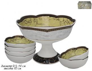 Набор креманка +6шт розеток 9,5см  Lenardi Мрамор 105-677