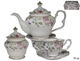Чайный сервиз на 6 персон 16 предметов Lenardi Пионы 105-784