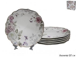 Набор из 6 тарелок 20см Lenardi Пионы 105-786