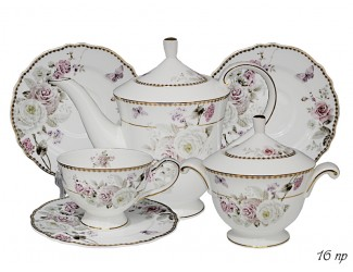 Чайный сервиз на 6 персон 16 предметов Lenardi Пионы 108-217