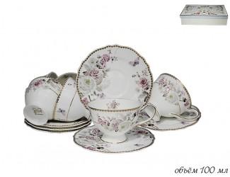 Набор кофейных пар на 6 персон 12 предметов Lenardi Пионы 108-221
