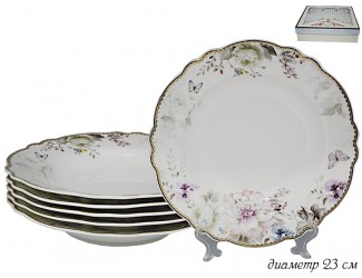 Набор из 6 глубоких тарелок 23см Lenardi Хризантемы 108-224