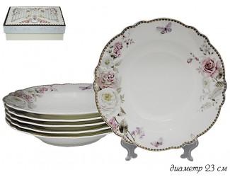 Набор из 6 глубоких тарелок 23см Lenardi Пионы 108-225