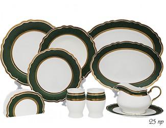 Обеденный сервиз на 6 персон 25 предметов Lenardi зелёный 108-283