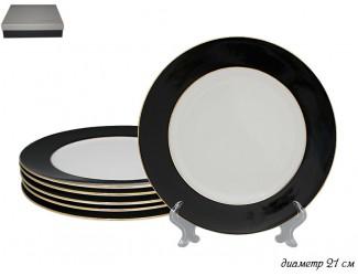 Набор из 6 тарелок 20см Lenardi чёрный 108-293