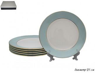 Набор из 6 тарелок 20,5см Lenardi голубой 108-294