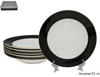 Набор из 6 глубоких тарелок 23см Lenardi чёрный 108-295