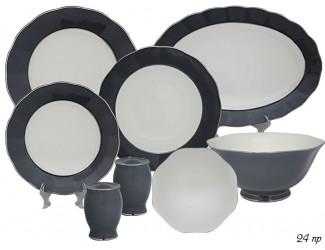 Обеденный сервиз на 6 персон 24 предмета Lenardi серый 108-304