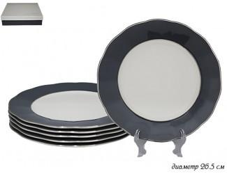 Набор из 6 тарелок 27см Lenardi серый 108-310