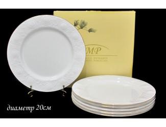 Набор из 6 тарелок 20см Lenardi Белая Роза 111-009