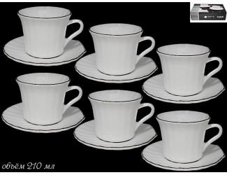 Набор чайных пар 12 предметов Lenardi Ракушка золото 116-104