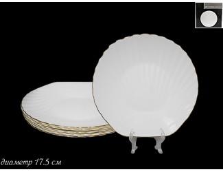 Набор из 6 тарелок 17,5см Lenardi Ракушка золото 116-107