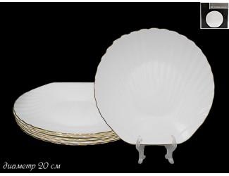 Набор из 6 тарелок 20см Lenardi Ракушка золото 116-108