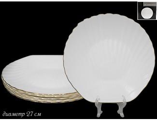 Набор из 6 тарелок 27см Lenardi Ракушка золото 116-109
