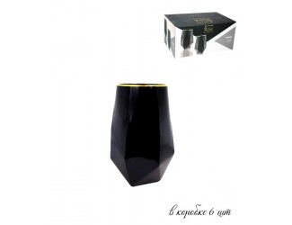 Набор из 6 стаканов для воды 700мл Lenardi Diamond чёрный 121-009