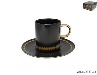 Чашка с блюдцем 100мл Lenardi Tekito чёрный 133-004