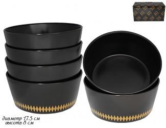 Набор из 6 салатников 17,5см Lenardi Tekito чёрный 133-008