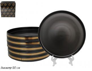 Набор из 6 десертных тарелок 20см Lenardi Tekito чёрный 133-009