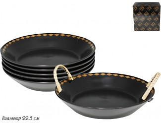 Набор из 6 глубоких тарелок 22,5см Lenardi Tekito чёрный 133-011